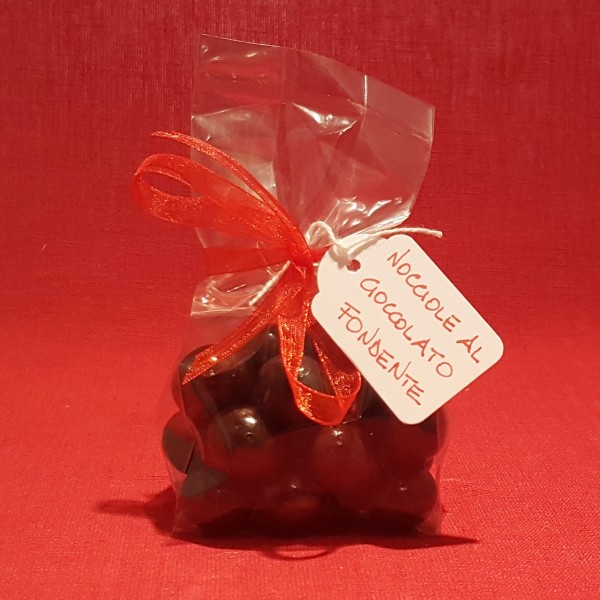 Hazelnuts covered in white chocolate